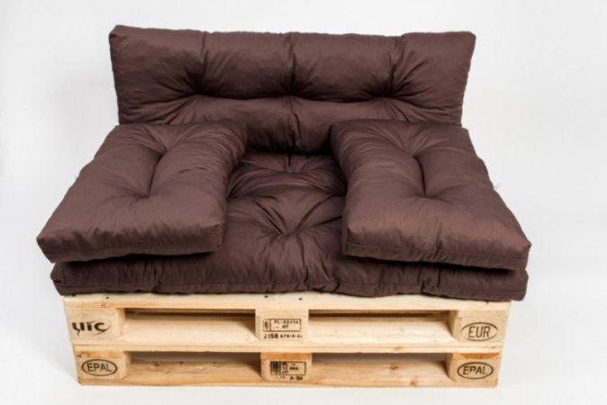 Polstr na paletový nábytek s opěrkou a polštáři - hnědý