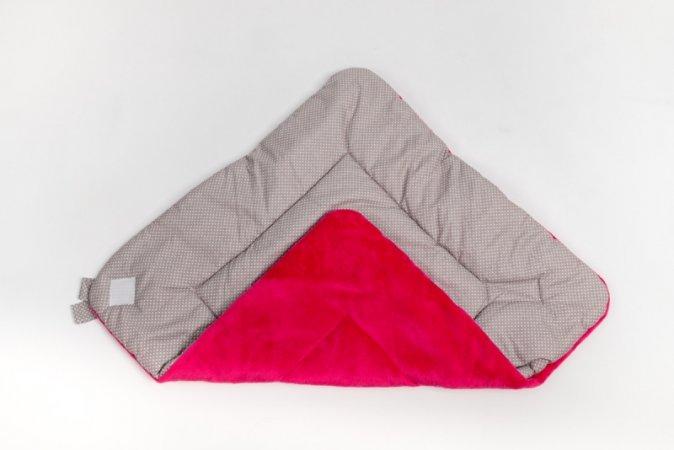 Zavinovačka s mašlí - fleece - růžová - šedý puntík