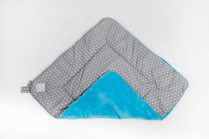 Zavinovačka s mašlí - fleece - modrá - šedé hvězdy