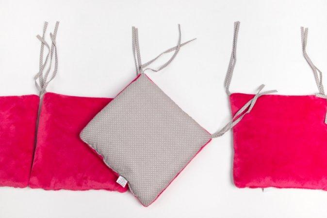 Polštářkový mantinel do postýlky - fleece - růžový - šedý puntík