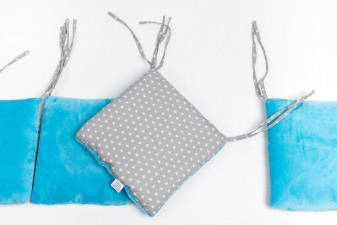 Polštářkový mantinel do postýlky - fleece - modrý - šedé hvězdy