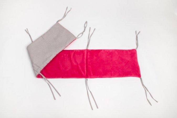 Mantinel do postýlky - fleece - růžový - šedý puntík