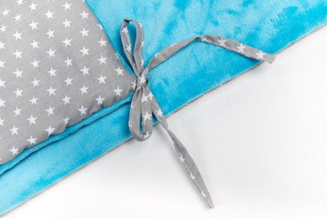 Mantinel do postýlky - fleece - modrý - šedé hvězdy
