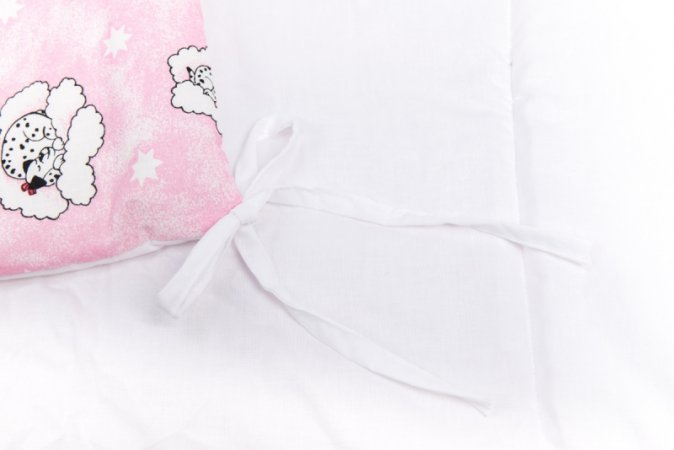 Mantinel do postýlky - růžový - dalmatin