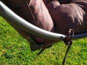 Polstr a opěrka na zahradní houpačku - 170 cm - hnědý
