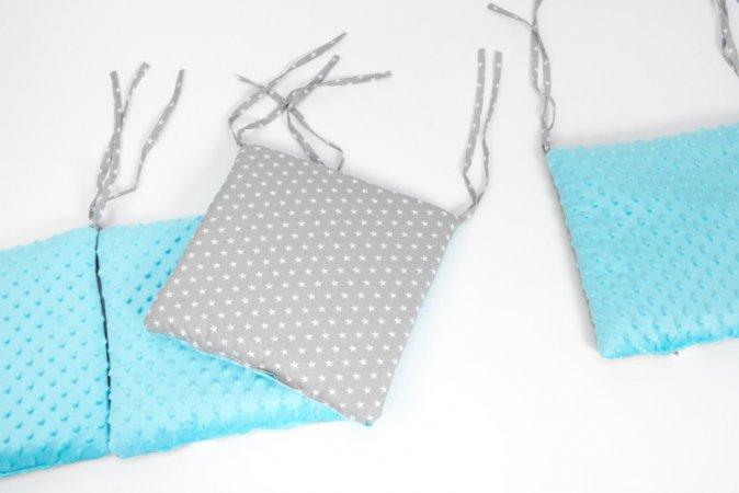 Polštářkový mantinel do postýlky - minky - modrý - šedé hvězdy