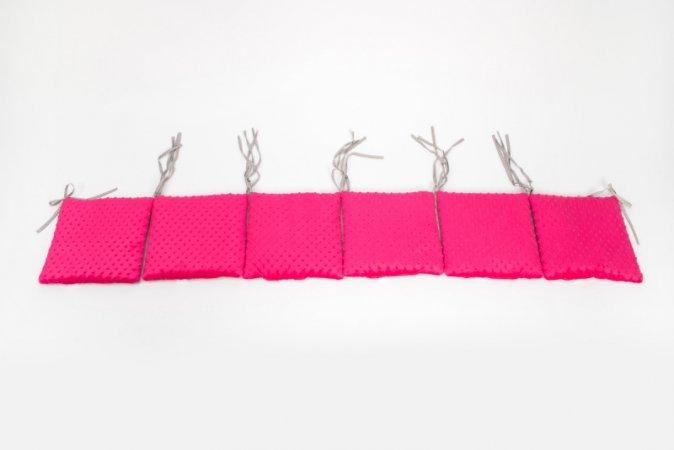 Polštářkový mantinel do postýlky - minky - růžový - šedé puntíky