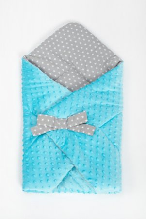 Zavinovačka s mašlí - minky - modrá - šedé hvězdičky
