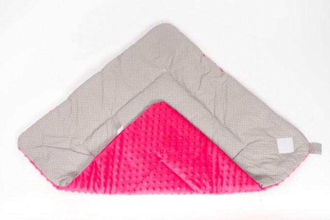 Zavinovačka s mašlí - minky - růžová - šedý puntík
