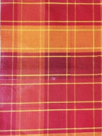 Látka - běžný metr oranžovočervená  kostka