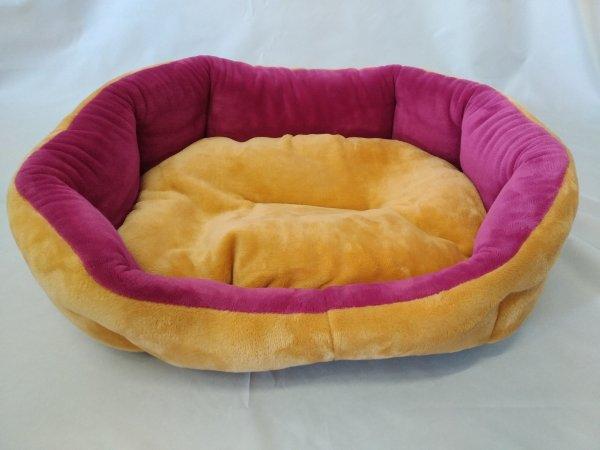 Pelech pro domácí mazlíčky - plyšový růžovo-žlutý - Výprodej