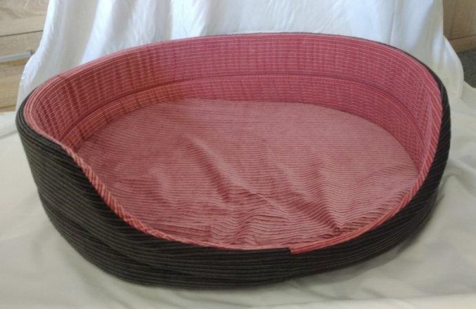 Pelech pro domácí mazlíčky - růžovo-černý manšestr - Výprodej