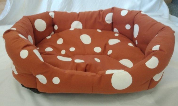 Pelech pro domácí mazlíčky - oranžový s puntíky - Výprodej