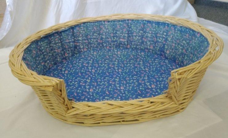 Pelech pro domácí mazlíčky - proutěný - modré květiny - Výprodej